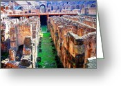 Way Of The Cross Greeting Cards - Flavian Amphitheatre Greeting Card by Phillip Allen