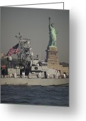 United We Stand Greeting Cards - Fleet Week Vessels Pass By The Statue Greeting Card by Stocktrek Images