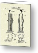 Brushing Greeting Cards - Flesh Brushing Apparatus 1882 Patent Art Greeting Card by Prior Art Design