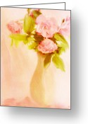 Pastel Roses Greeting Cards - Fleurs Pastel Greeting Card by Linde Townsend