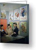 Advertisements Greeting Cards - Flight Attendants Stand And Talk Greeting Card by B. Anthony Stewart