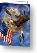 Eagle Art Greeting Cards - Flight For Freedom Greeting Card by Carol Cavalaris
