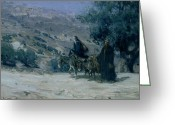 Nativities Greeting Cards - Flight into Egypt Greeting Card by Henry Ossawa Tanner
