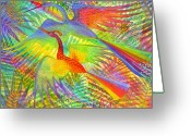  Jungle Greeting Cards - Flight of Colour and Bliss Greeting Card by Jennifer Baird