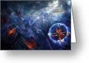 Volcano Greeting Cards - Flight of the Dying Sun Greeting Card by Philip Straub