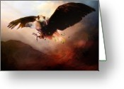 Freedom Digital Art Greeting Cards - Flight of the Eagle Greeting Card by Karen Koski