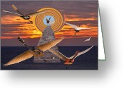 World Tour Greeting Cards - Flight Of The Guitars Greeting Card by Eric Kempson