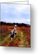 Amish Family Greeting Cards - Flight of the Innocent Greeting Card by Stephanie Frey