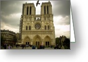 Etherial Greeting Cards - Flight Over Notre Dame Greeting Card by Mark Currier