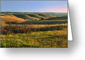 Moonrise Photo Greeting Cards - Flint Hills Shadow Dance Greeting Card by Rod Seel