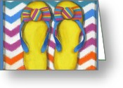 Debbie Brown Greeting Cards - Flip Flops 2 Greeting Card by Debbie Brown