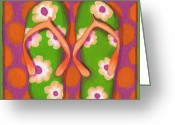 Fushia Painting Greeting Cards - Flip Flops1 Greeting Card by Debbie Brown
