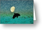 Dolphin Digital Art Greeting Cards - Flippers Moonlight Swim Greeting Card by Bill Cannon