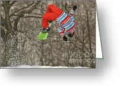 Snow Board Greeting Cards - Flippin Greeting Card by Lois Bryan