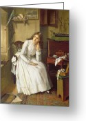 Thoughtful Greeting Cards - Flo Dombey in Captain Cuttles Parlour Greeting Card by William Maw Egley