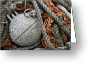 Rectangle Greeting Cards - Float and Fishing Nets Greeting Card by Carol Leigh