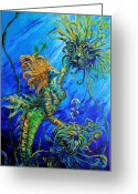 Cheerleader     Greeting Cards - Floating Blond Mermaid Greeting Card by Gregory Merlin Brown