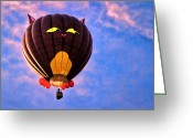 Hot Air Greeting Cards - Floating Cat - Hot Air Balloon Greeting Card by Bob Orsillo