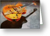 Guitar Pastels Greeting Cards - Floating Guitar Greeting Card by Russ Harris