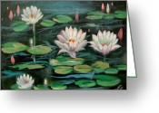 Lilly Pad Painting Greeting Cards - Floating Lillies Greeting Card by Sai Shyamala Ramanand