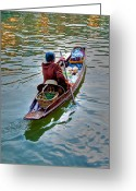 Sunlight Greeting Cards - Floating Market Greeting Card by Adrian Evans