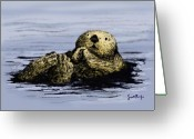 Sea Animal Greeting Cards - Floating Otter Greeting Card by Scott Rolfe