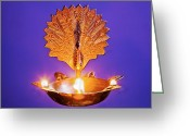 Oil Lamp Greeting Cards - Floating Peacock Diva Greeting Card by Kantilal Patel