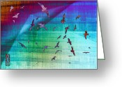 Green. Organic Greeting Cards - Flock of Seagulls Greeting Card by Hakon Soreide
