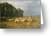 Sheepdog Greeting Cards - Flock of Sheep in a Landscape Greeting Card by Charles Emile Jacque