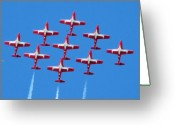 Airplanes Greeting Cards - Flock of Snowbirds Greeting Card by Garry Staranchuk