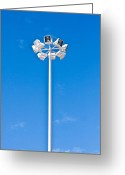Halogen Greeting Cards - Floodlight Greeting Card by Tom Gowanlock