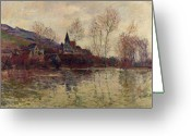 Overflowing Greeting Cards - Floods at Giverny Greeting Card by Claude Monet