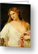 Ancient Rome Greeting Cards - Flora Greeting Card by Titian
