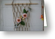 Interior Tapestries - Textiles Greeting Cards - Floral - Crochet Greeting Card by Larysa Matei
