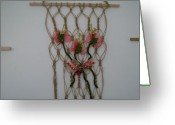 Interior Tapestries - Textiles Greeting Cards - Floral - String Greeting Card by Larysa Matei