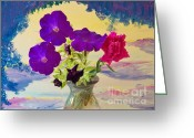 Pink Carnations Greeting Cards - Floral Arch Island Greeting Card by Judy Via-Wolff