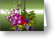 Socal Greeting Cards - Floral Arrangement - Green Greeting Card by Chuck Staley