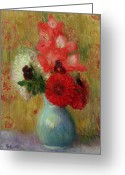 Signed Greeting Cards - Floral Arrangement in Green Vase Greeting Card by William James Glackens