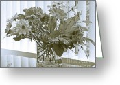 Sepia Toned Greeting Cards - Floral Arrangement With Blinds Reflection Greeting Card by Ben and Raisa Gertsberg