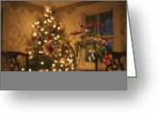 Decoration And Ornament Greeting Cards - Floral Centerpiece With A Lit Christmas Greeting Card by Roy Gumpel