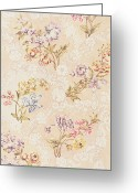 Lilies Tapestries - Textiles Greeting Cards - Floral design with peonies lilies and roses Greeting Card by Anna Maria Garthwaite