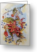 Decorative Floral Drawings Greeting Cards - Floral display 1 Greeting Card by Andrew Read