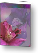 Warm Looking Flower Greeting Cards - Floral Dust Greeting Card by Debra     Vatalaro