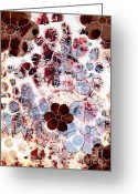 Red Abstract Greeting Cards - Floral Essence Greeting Card by Frank Tschakert