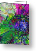 Gold Mountain Mixed Media Greeting Cards - Floral Expressions I Greeting Card by Ricki Mountain