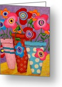 Folk Art Greeting Cards - Floral Happiness Greeting Card by John Blake