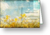 Backside Greeting Cards - Floral In Blue Sky Postcard Greeting Card by Setsiri Silapasuwanchai