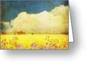 Burnt Greeting Cards - Floral In Yellow Field Greeting Card by Setsiri Silapasuwanchai