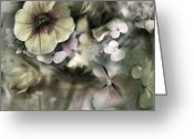 Sage Green Greeting Cards - Floral Montage Greeting Card by Bonnie Bruno