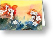 Sky Jewelry Greeting Cards - Floral Neklace Greeting Card by Anil Nene